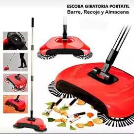 Escoba aspiradora barredora spin sweep drag giratoria manual