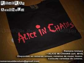 Remeras Rock Punk Alice in Chains Paradise Lost Misfits y Algodón 100% Estampadas con pintura textil premium Promo!