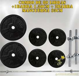 Set de pesas 80libras + 1 barra 1.50Cm + 2 barra mancuerna 35Cm