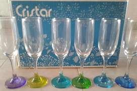 Juego 22 vasos y pasaboqueros marca Cristar 6 vasos grandes 6 vasos pequeño 6 copas 4 pasabocas
