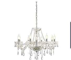 Lujosa y hermosa lampara candelabro 100% cristal y vidrio totalmente nueva