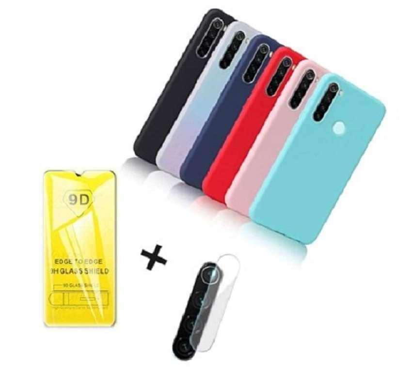 Estuche Xiaomi Redmi Note 8 Silicona + Vidrio Templado 9d + Protector Camara