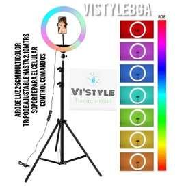 Aro de luz 26cm multicolor + trípode GRADUABLE hasta 2.10 mtrs