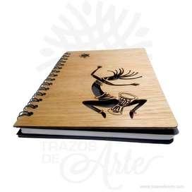"""Cuaderno """"Precolombino"""" en madera para personalizar - Precio COP"""