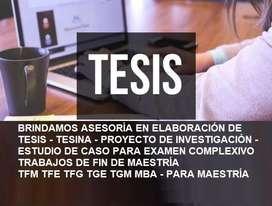 ASESORÍA EN TRABAJO Y ARTÍCULO ACADÉMICO EN CONSTITUCIÓN DEL PROCESO DE MAESTRÍA BASE SUGERENCIAS DE TFM ASESORES TESIS