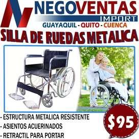 SILLA DE RUEDA PIRTATIL METALICA DE CUERO