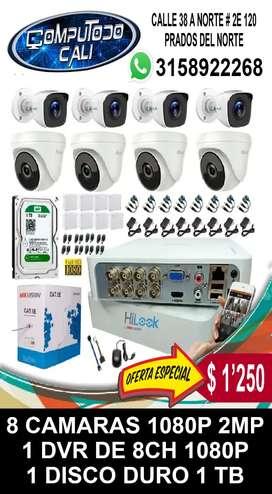 CCTV KIT 8 CAMARAS 1080P 2MP INSTALADAS