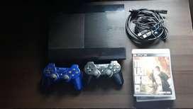 Playstation 3 usada Slim 500GB+ 2 joystick+ cable hdmi+ 6 juegos