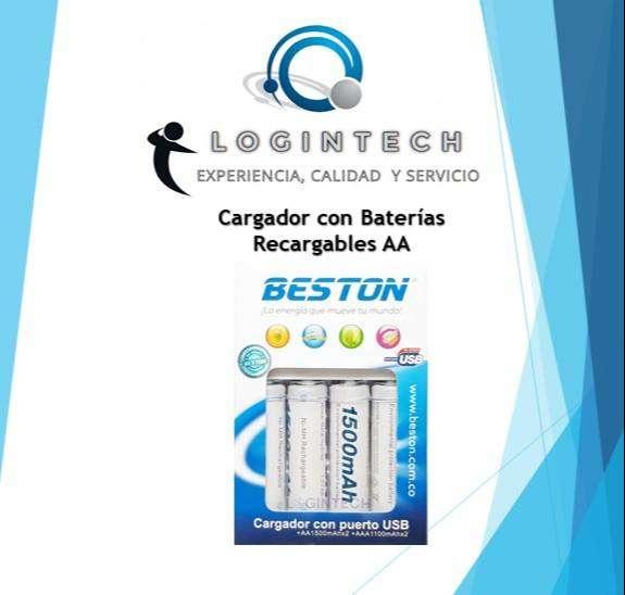 Cargador Beston Con 4 Baterías AA De 1500mAh Recargables