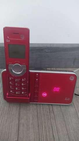 Teléfono inalámbrico rojo dect 6.0 contestador general electric