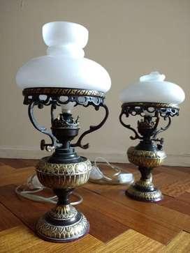 Lámpara de mesa Velador Antigüo En Bronce Y Pavonado 2 Tulipas Retro