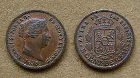 Moneda de 5 céntimos de real, España 1855