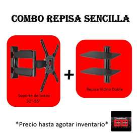 Soporte Tv + Repisa Doble