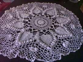 Carpeta crochet hilo color crudo 65 cm