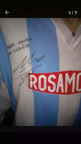 Remera Racing Firmada por Diego A.Maradona