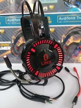 DIADEMA GAMER LINX AG-999 CON MICRÓFONO PARA PC,  PS4, XBOX ONE, CEL,  ETC