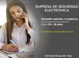 Empresa de venta de equipos de seguridad electrónica requiere contratar Asesora Comercial para quito
