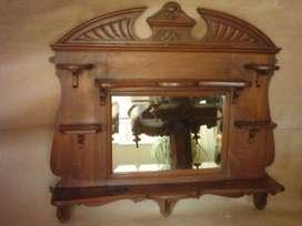 Antigua Repisa Toilette Victoriana De Nogal Con Espejo Biselado