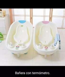 Tina bañera para bebes con termometro y dispensador