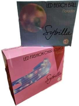 Colchoneta Inflable Pileta + Pelota Inflable Luz Led Sybilla