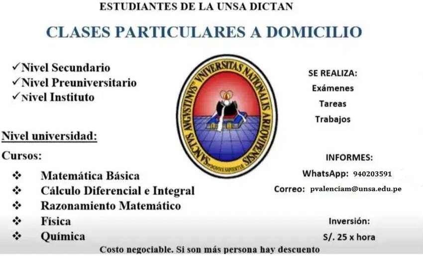 ESTUDIANTES DE LA UNSA DICTAN CLASES PARTICULARES