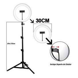 Aro de Luz Grande 30 CM Con Trípode de 210 Cm + Soporte Para Celular