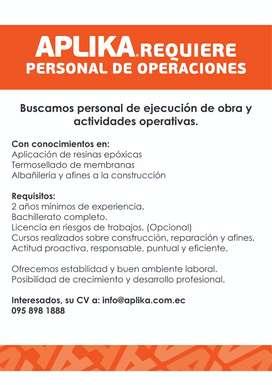 APLIKA REQUIERE PERSONAL DE OPERACIONES