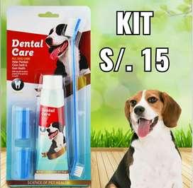 Cepillo dental + pasta de dientes + 2 dedal Kit de limpieza bucal perro gato mascotas