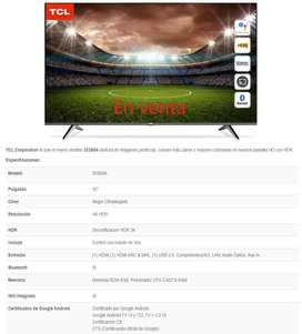 Smart tv de 32 pulgadas Led Full HD sistema Android con comandos de voz - modelo 32S60A - TCL