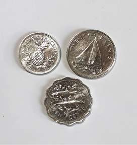 Lote de 3 monedas de Bahamas, 5, 10 y 20 cent, XF