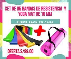 Bandas y yoga mat de 10 mm