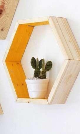 Repisa hexagonal nueva en roble