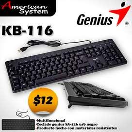 Nuevo Teclado Genius Kb-116 Diseño Confortable Resistente