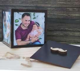 Cubo de fotos en madera tipo cofre