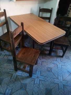 Mesa cin cuatro sillas