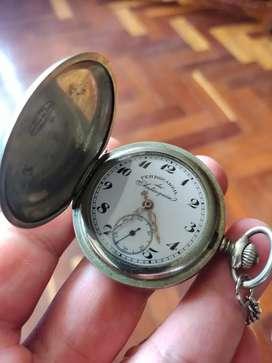 Reloj Ferrocarril de Antioquía de Bolsillo Suizo 3 Tapas Espectacular Único