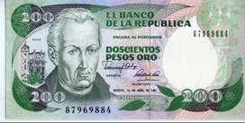 BILLETES  DE COLOMBIA  TRIO DE 200  PESOS