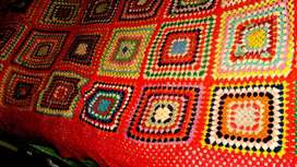 ANTIGUA MANTA SILLON CAMA-LANA-TEJIDA CROCHET LINIERS CAPITAL