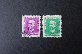 2 ESTAMPILLAS BRASIL, 1961, RUI BARBOSA, USADAS