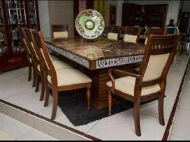 Juego de comedor o mesas de mármol con sillas