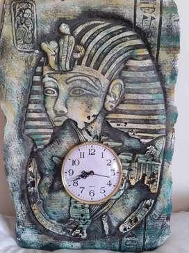 Adorno Pared Imagen Egipcia Con Reloj