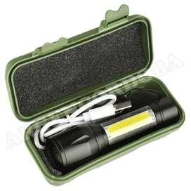 LINTERNA TACTICA MINI ALUMINIO ZOOM LED XPE + COB RECARGABLE USB + ESTUCHE