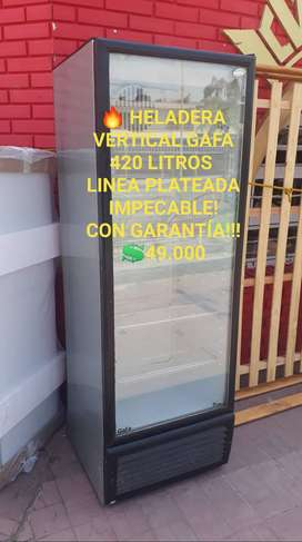 HELADERA VERTICAL GAFA LINEA PLATEADA CON GARANTIA!