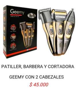 Cortadora patillera barbera electrica maquina peluqueria cortar barba bellos pelo geemy 3 en 1 portatil recargable