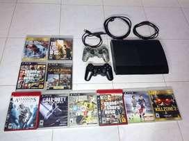 PlayStation 3 con 10 juegos y 2 controles 500gb