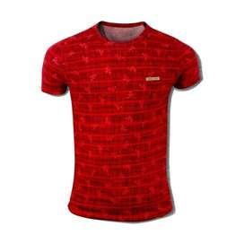 Camiseta Manga corta Hombre  Cuello redondo -Rojo Moda  Fitness