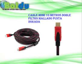Cable Hdmi 10 Metros Doble Filtro Mallado Punta Dorada