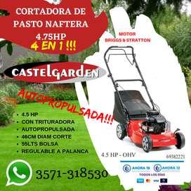 CORTADORA DE CESPED 4 EN 1 AUTOPROPULSADA NAFTERA 4.5HP CON BOLSA RECOLECTORA
