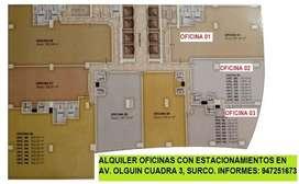 Alquiler oficinas de estreno (gris) Av. Olguin - Surco