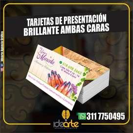 TARJETAS DE PRESENTACION FULL COLOR AMBAS CARAS PROPALCOTE BRILLANTE TALONARIO COTIZACIONES PUBLICIDAD CALI IMPRESIONES